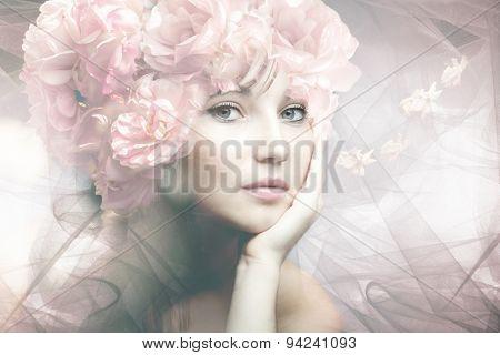 woman beauty portrait with flowers  composite photo
