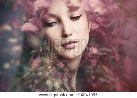 woman beauty portrait with flowers  composite photo