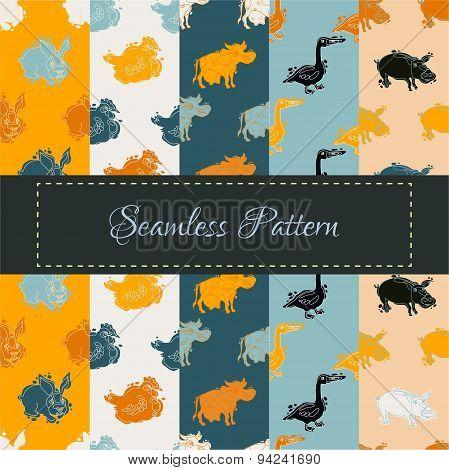Farm Animal Seamless Pattern Set