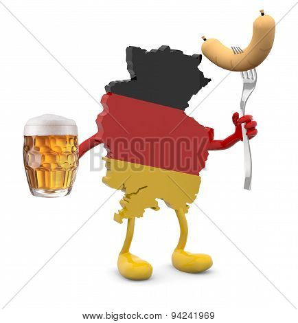 Germany Map With Arms, Legs And Glass Mug Of Beer And Wurstel On Hands