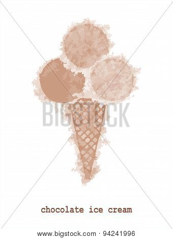 Vector chocolate ice cream in blurred style