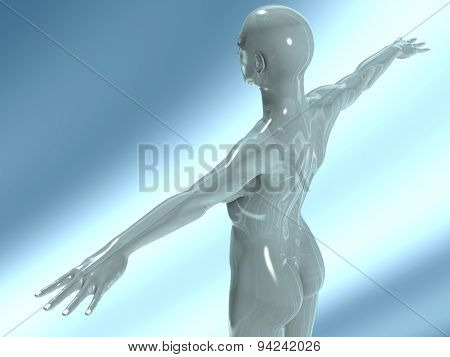 Back Of A Glass Nude Young Woman With Bald Head His Arms Stretched
