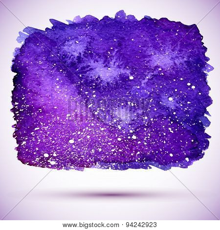 Vector Watercolor Cosmic Banner In Violet Colors And With Shadow