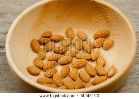 Peeled Almonds In A Plate On Wooden Background. For Vegetarians