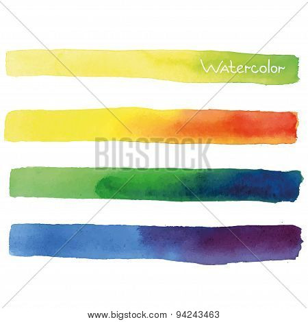 Colorful Watercolor Set Vector Banners.