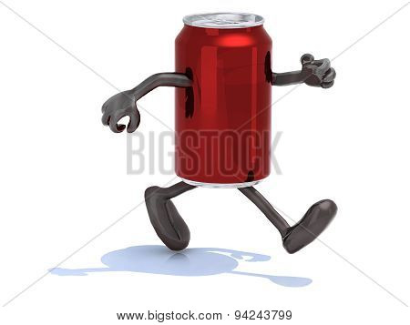 Tin Can With Arms And Legs Running