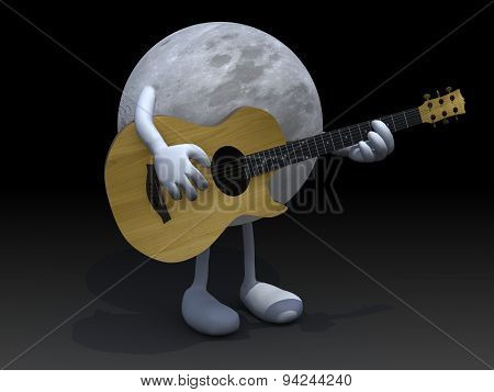 Moon With Arms And Legs Playing A Guitar