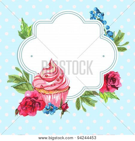 Vintage invitation card watercolor cupcakes and flowers with polka dots, vector  illustration.