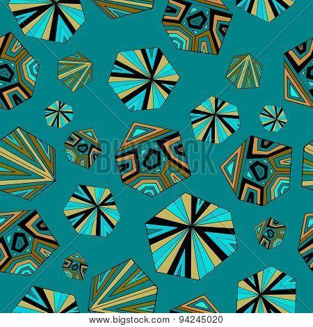 Sea- green geometric pattern.