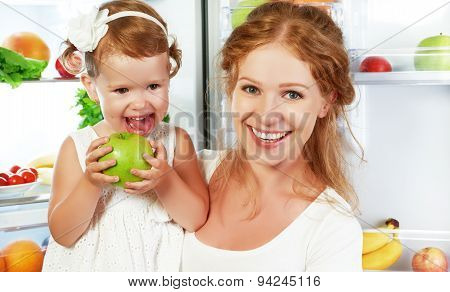 Happy Family Mother And Child With Healthy Food Fruits And Vegetables