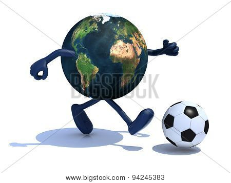 Earth With Arms And Legs Run Away To Soccer Ball