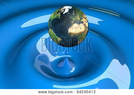 The World As A Drop On Liquid Blue
