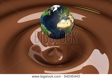 The World As A Drop On Liquid Brown