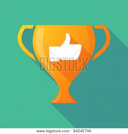 Long Shadow Trophy Icon With A Thumb Up Hand