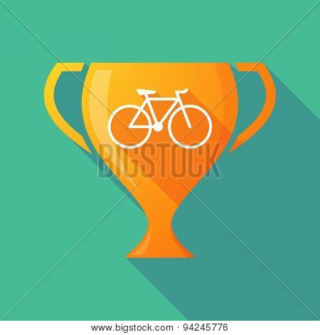 Long Shadow Trophy Icon With A Bicycle