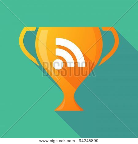 Long Shadow Trophy Icon With An Rss Sign