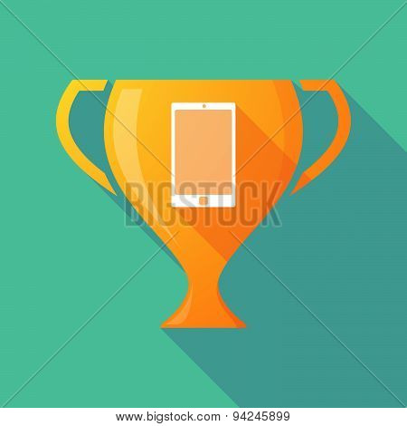 Long Shadow Trophy Icon With A Smart Phone