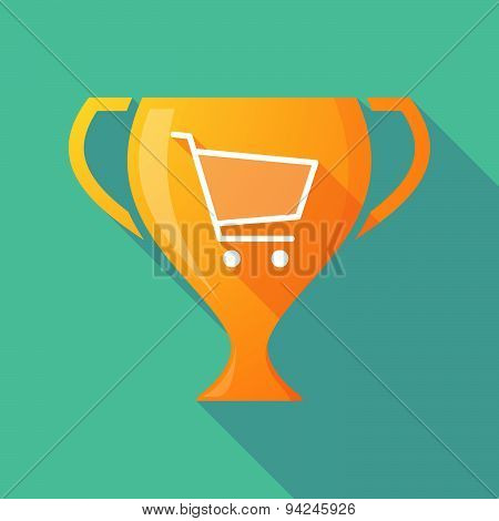 Long Shadow Trophy Icon With A Shopping Cart