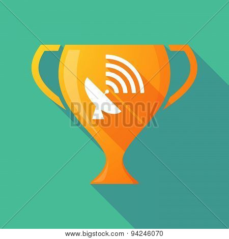 Long Shadow Trophy Icon With A Satellite Dish
