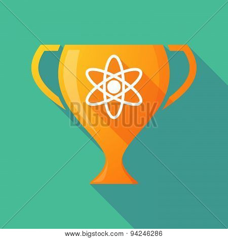Long Shadow Trophy Icon With An Atom