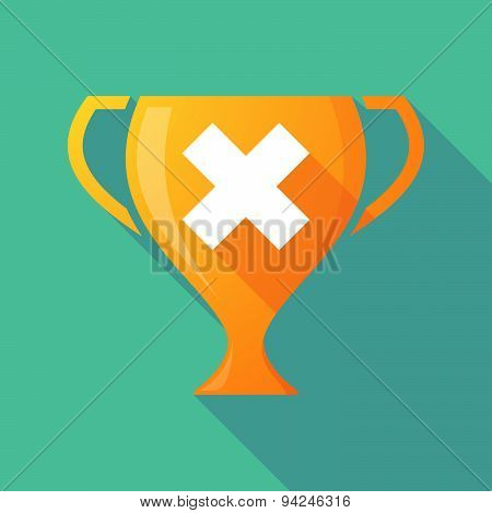 Long Shadow Trophy Icon With An X Sign
