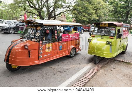 Ayutthaya, THAILAND - MARCH 27: Thai Tuk Tuk taxi at the Ayutthaya, Thailand, on March 27, 2015.