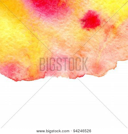 Vector Watercolor Abstract Red And Yellow Paint Stain Background With Lower Copy Space