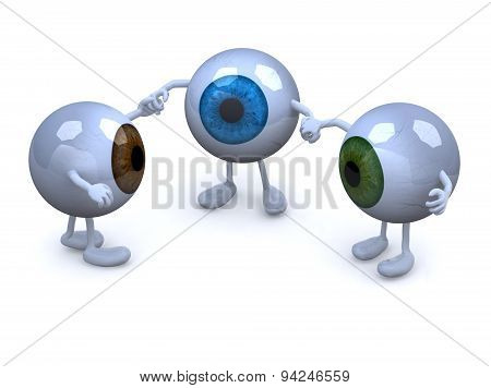 Three Eyeball With Arms And Legs In Different Colors Holding Hands