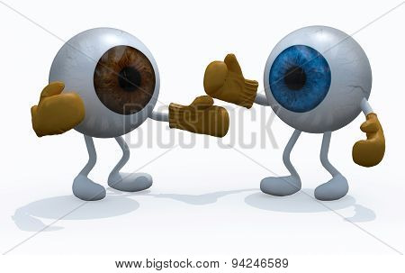Two Big Eyeball With Boxing Gloves In A Fight