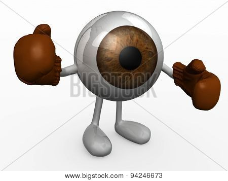 Eyeball With Boxing Gloves Fighting, 3D Illustration
