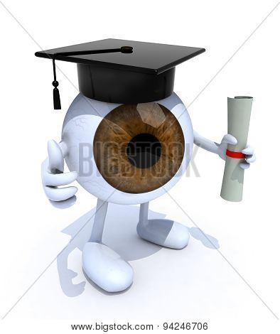 Eyeball With Arms And Legs, Graduation Cap And Diploma