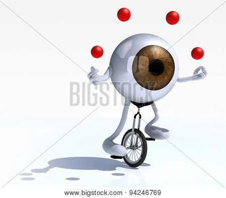 Eyeball With Arms And Legs Rides A Unicycle