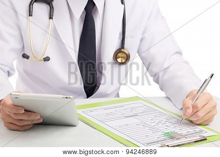 Doctor Record History Or Filling Medical Form.