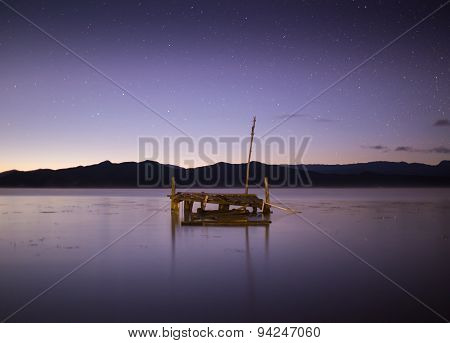 Quiet lake under the starry sky