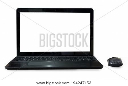 Black Labtop With Mouse Bluetooth Isolated White Background.