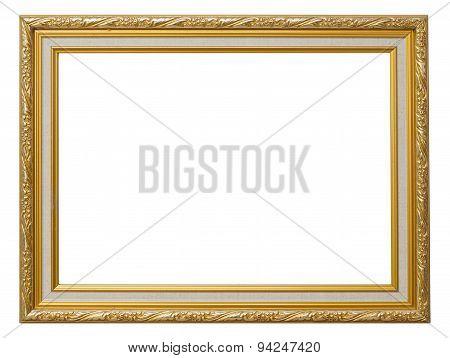 Beautiful Gold Vintage Frame Luxury Isolated White Background.