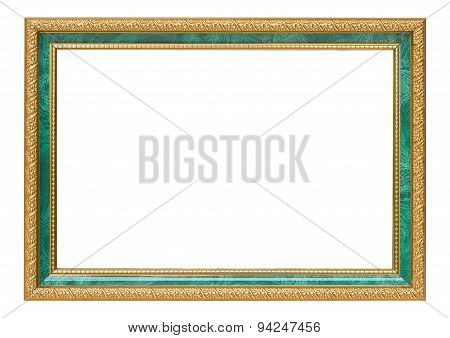 Beautiful Gold Vintage Frame Luxury Jade Isolated White Background.