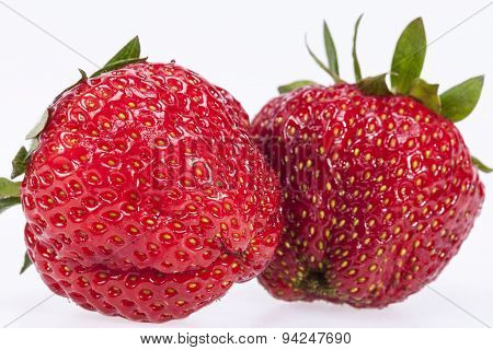Two Strawberries Isilated On White Background