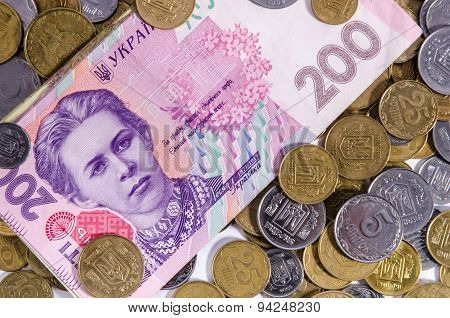 Money Ukraine. Note Two Hundred Hryvnia. Portrait Of The Ukrainian Poetess Lesya Ukrainka