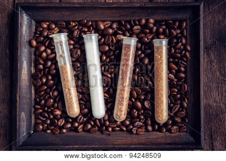 Coffee Mocha Hot And Coffee Beans On Wooden Table On Brown Background