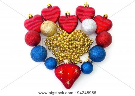 The Heart Of Christmas Toys On A White Background