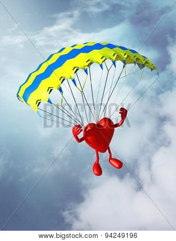 Heart That Is Landing With Parachute