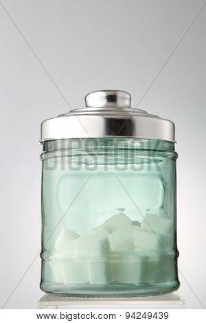 cube sugar in the transparent jar