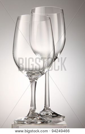 Two empty wine glass isolated on white