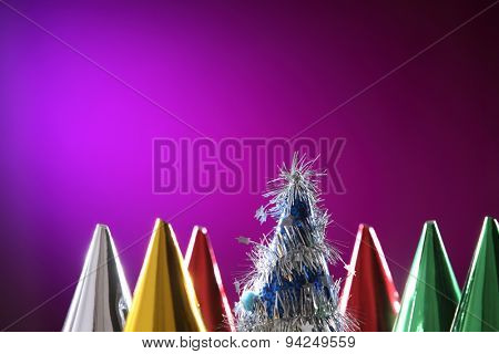 party hat on the purple background