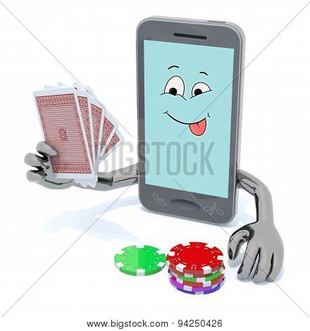 Smartphone With Arms And Legs Been Playing Poker