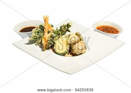 Fried Shrimps and squash with sauce