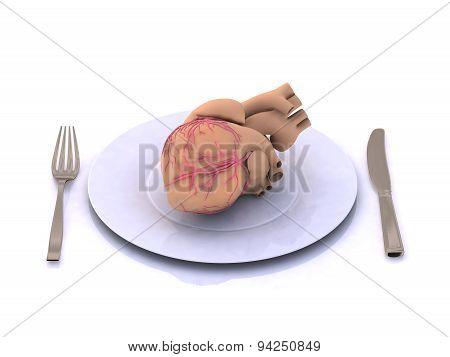 Human Heart On A Plate