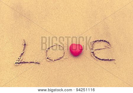 love on the sand texture background