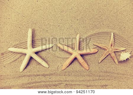 starfish with frame on the beach, vacation memories